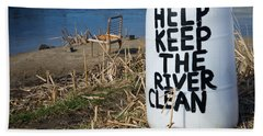 Help Keep The River Clean Hand Towel by Mary Lee Dereske