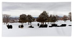 Herd Of Yaks Bos Grunniens On Snow Hand Towel by Panoramic Images