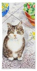 Here Kitty Kitty Kitty Hand Towel by Irina Sztukowski