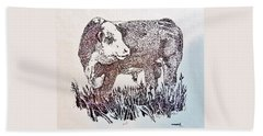 Polled Hereford Bull  Bath Towel
