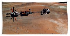 Hermes1 Orbiting Mars Hand Towel by David Robinson