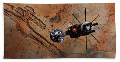 Hand Towel featuring the digital art Hermes1 With The Mars Lander Ares1 In Sight by David Robinson