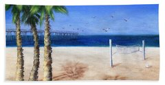Bath Towel featuring the painting Hermosa Beach Pier by Jamie Frier