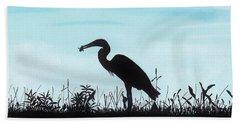 Heron Has Supper Bath Towel