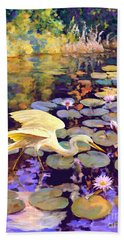 Hand Towel featuring the painting Heron In Lily Pond by David  Van Hulst