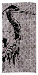 Heron On Burlap Bath Towel