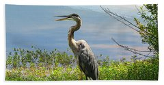 Heron On Lake Bath Towel