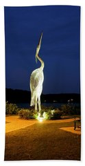 Heron On Mill Pond Bath Towel