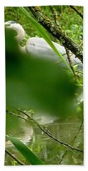 Hidden Bird White Bath Towel by Susan Garren
