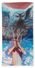 Bath Towel featuring the painting Hide And Seek by Rene Capone