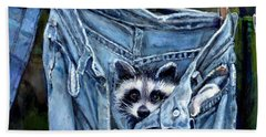 Hiding In My Jeans Bath Towel by Donna Tucker