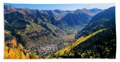 High Angle View Of A Valley, Telluride Bath Towel