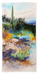 Hand Towel featuring the painting High Desert Scene 2 by M Diane Bonaparte