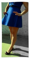 High Heels And A Blue Skirt Hand Towel
