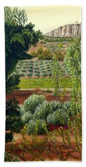 High Mountain Olive Trees  Bath Towel