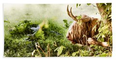 Highland Cow Laying Down Hand Towel