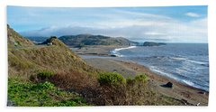 Highway 1 Near Outlet Of Russian River Into Pacific Ocean Near Jenner-ca  Bath Towel