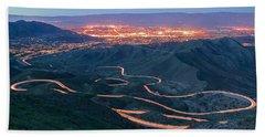 Highway 74 Palm Desert Ca Vista Point Light Painting Bath Towel