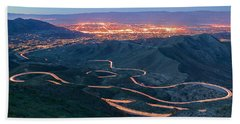 Highway 74 Palm Desert Ca Vista Point Light Painting Bath Towel