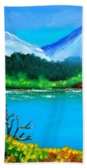 Hand Towel featuring the painting Hills By The Lake by Cyril Maza