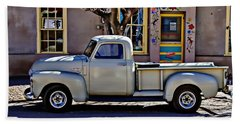 Hand Towel featuring the painting Hillsboro New Mexico 1949 Gmc 100 by Barbara Chichester