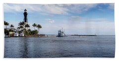 Hillsboro Inlet Lighthouse Panorama Bath Towel by Lynn Palmer