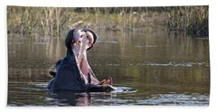 Bath Towel featuring the photograph Hippo Yawning by Liz Leyden