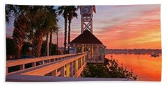 Historic Bridge Street Pier Sunrise Hand Towel by HH Photography of Florida