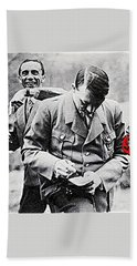 Hitler And Goebbels  As The German Chancellor Signs An Autograph  Bath Towel