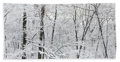 Hoar Frost Covered Trees In Forest Hand Towel