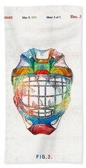 Hockey Art - Goalie Mask Patent - Sharon Cummings Hand Towel by Sharon Cummings