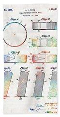 Hockey Art - Hockey Puck Patent - Sharon Cummings Bath Towel
