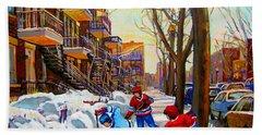 Hockey Art - Paintings Of Verdun- Montreal Street Scenes In Winter Hand Towel