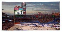 Hockey At The Ballpark Hand Towel by David Rucker