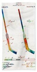 Hockey Stick Art Patent - Sharon Cummings Bath Towel