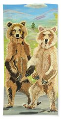 Hoedown On The Tundra Hand Towel by Phyllis Kaltenbach