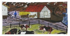 Hog Heaven Farm Hand Towel by Jeffrey Koss