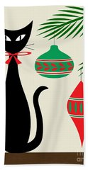 Holiday Cat On Cream Bath Towel