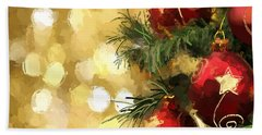 Hand Towel featuring the digital art Holiday Ornaments by Anthony Fishburne