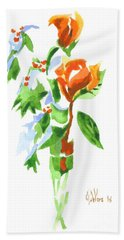 Holly With Red Roses In A Vase Hand Towel by Kip DeVore
