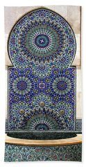 Holy Water Fountain Hassan II Mosque Sour Jdid Casablanca Morocco  Hand Towel by Ralph A  Ledergerber-Photography