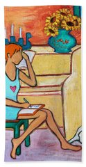 Bath Towel featuring the painting Home Where My Heart Is Iv by Xueling Zou