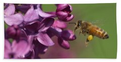 Honey Bee And Lilac Bath Towel by James Peterson