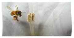 Honey Bee Up Close And Personal Bath Towel by Joyce Dickens