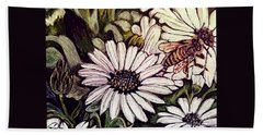 Honeybee Cruzing The Daisies Hand Towel by Kimberlee Baxter