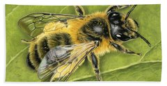 Honeybee On Leaf Bath Towel