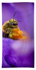 Honeybee Pollinating Crocus Flower Bath Towel