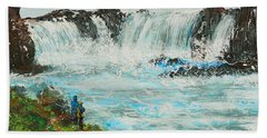 Honeymoon At Godafoss Bath Towel by Alys Caviness-Gober