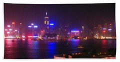 Hong Kong Skyline Hand Towel by Pixel  Chimp