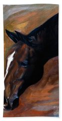 Bath Towel featuring the painting horse - Apple copper by Go Van Kampen